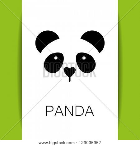 Panda logo. Isolated panda head on white background.  Identity template. Asian bear mascot idea for logo, emblem, symbol, icon. Panda head silhouette. Vector illustration.