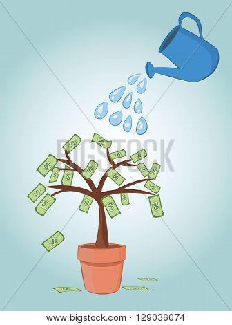 vector illustration of blue can watering dollar banknote money tree in pot. business finance money investment concepts. eps 10