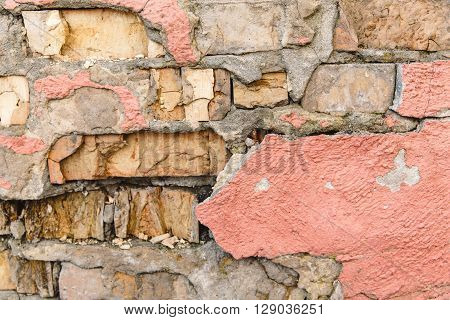 The Pattern from Bricks,Pink Plaster,Chapped; Texture; Toned