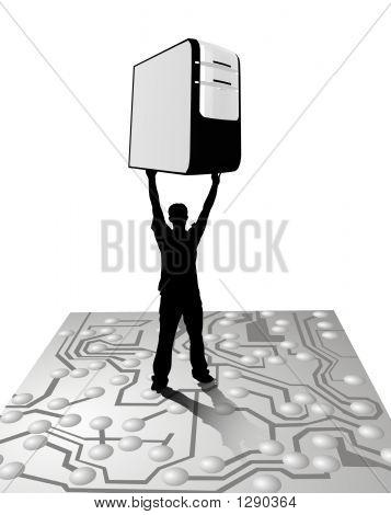 Man Carrying Server