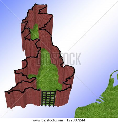 3D Illustration of Great Britain with a brick wall around the borders