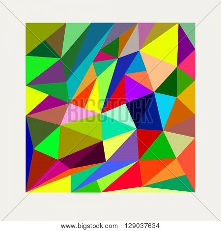 Bright contrast triangle multicolor geometric background for design layout and design of computer-related, advertising, screensavers, booklets, brochures, flyers, printed on paper, cloth and other products, packaging, wallpaper for the interior.