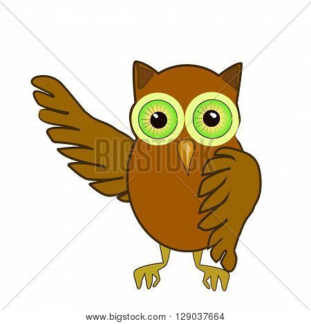 Welcoming owl. Use to create a decor printing on paper, tissues, drawing the tattoo, print, backgrounds, fashion, design, clothing design, packaging, labels, toys.