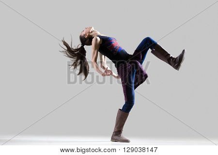 Dancer Girl Dancing With Raised Leg