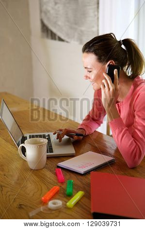 Happy Young Woman Working From Home
