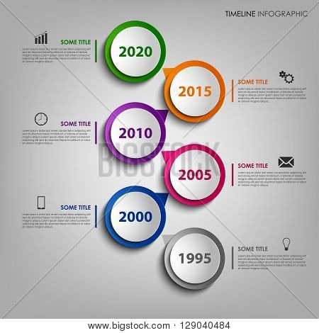 Time line info graphic with colorful design round pointer vector eps 10