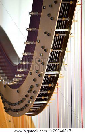 Pedal Harp Tuning Mechanisms Closeup