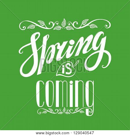 Spring design, Handwriting lettering, quotes.Vintage vector Spring is coming.Spring season, springtime wallpaper, text.Vector spring calligraphic.Vintage spring web, art in green.Retro Illustration.Square