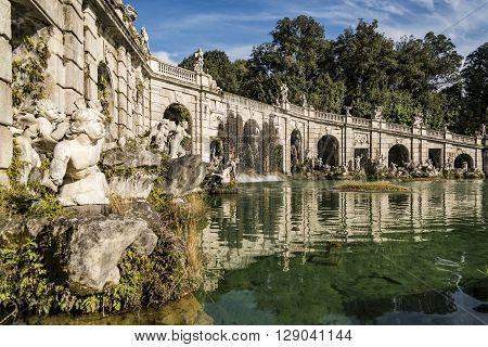 details of the fountain in the Royal Palace garden in Caserta, Italy