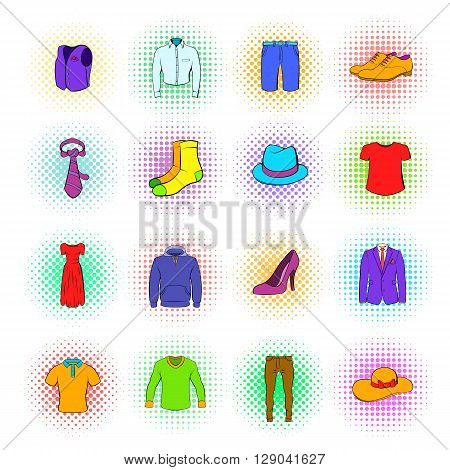 Clothes Icons set in pop-art style isolated on white background