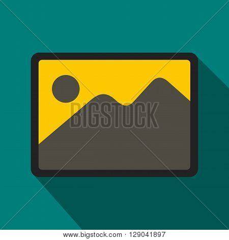 Snapshot icon in flat style on green background. Landscape shot icon