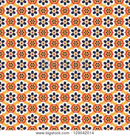 Seamless background with bright abstract big and small flowers in white yellow red and dark blue colors