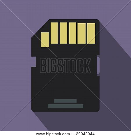 Memory card icon in flat style on purple background