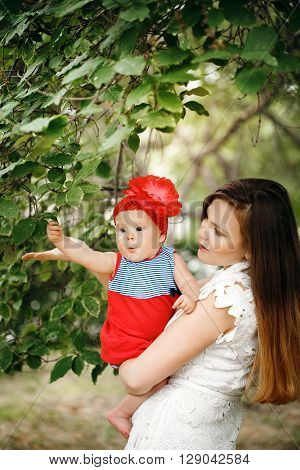Cute Happy Child With Mother