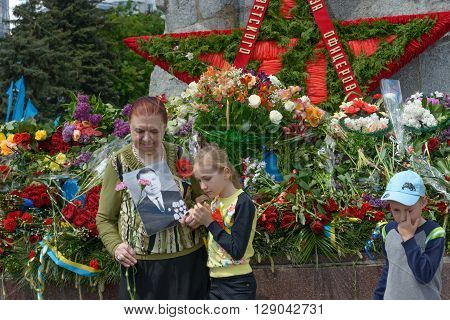 Laying Flowers To Glory Monument In Victory Day, Dnepropetrovsk, Ukraine.