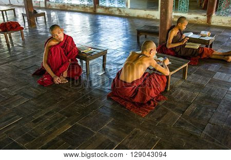 Bago Myanmar - January 11 2012: Young monks in a monastry on the outskirts of the city