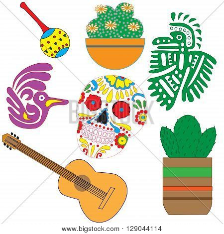 Vector set of colorful objects cartoons and icons of Mexico. Illustration with symbols of Mexico