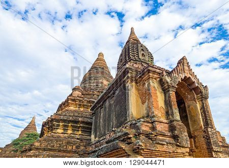 Myanmar, Bagan, the plain with thousand of 880-year old temple, ruins detail.