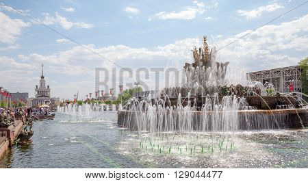 MOSCOW RUSSIA, MAY 09: The Stone Flower Fountain on VDNKh exhibition May 09, 2015