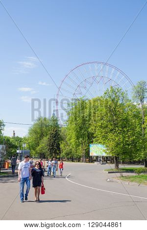 MOSCOW RUSSIA, MAY 09: Repairing Ferris wheel on VDNKh exhibition May 09, 2015