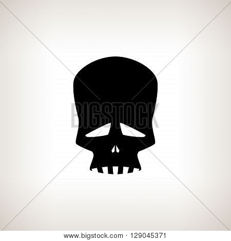 Sad Skull, Silhouette Skull Isolated on a Light  Background ,  Black and White Vector Illustration