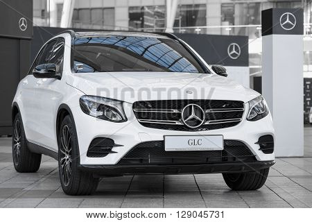 MUNICH, GERMANY - MAY 6, 2016: Modern model of prestigious Mercedes-Benz GLC-class SUV crossover.