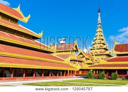 Myanmar, Mandalay, architectures of the Royal Palace.