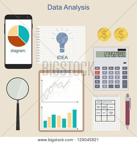 Data analysis. Phone for communication. The charts and graphs. Calculation of income. Business ideas and income. A set of financial instruments. Accounting. Vector illustration.