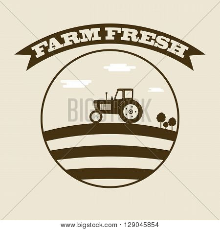 Silhouette of tractor in field. Harvest. Icon design for your natural product. The Label