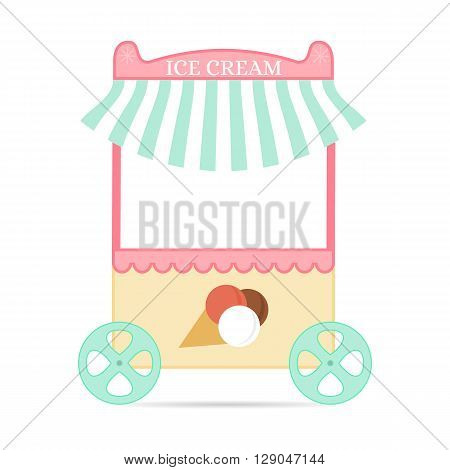 Ice cream tent. Flat style. Mobile kiosk with dessert. Pink candy Store for children. The cooling device. Vector illustration.