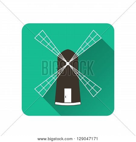 Windmill. Flat icon with shadow. The logo of subsistence agriculture. Label baked goods. Vector illustration.