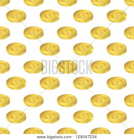 Isometric gold. Seamless pattern US dollar. Endless symmetrical pattern with the coins. A symbol of wealth and success. White background. Vector illustration.