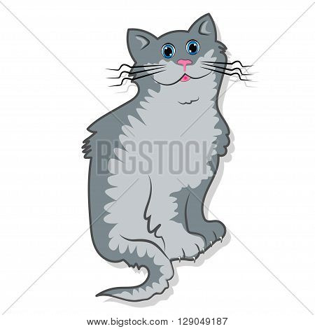 Cute cats - A cute gray tomcat is sitting and smiling