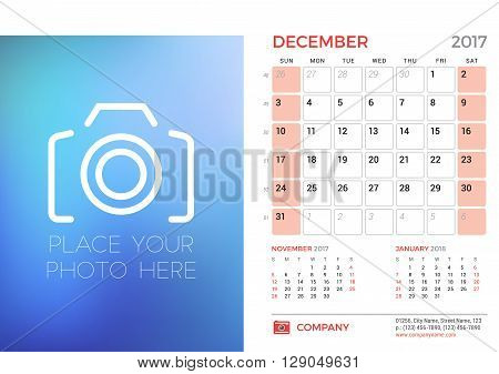 Desk Calendar Template For 2017 Year. December. Design Template With Place For Photo. 3 Months On Pa