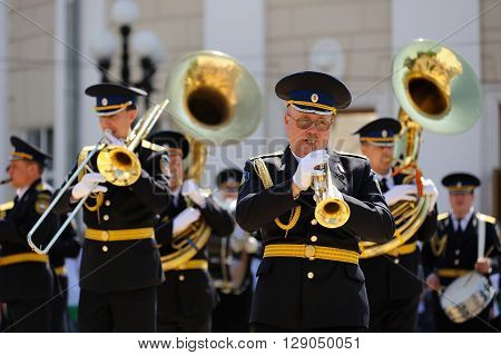 Orel Russia - May 9 2016: Celebration of 71th anniversary of the Victory Day (WWII). Military brass band playing outdoors closeup