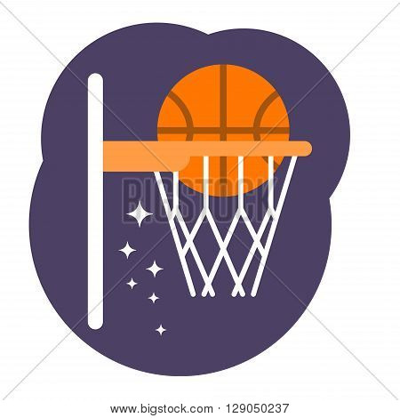 Ball in a basket. Basketball concept. Vector flat illustration. Simple elements logo design