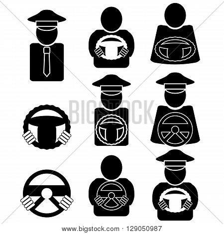 Set of Different Driver Icons Isolated on White Background. Driver Design Element with Hands Holding Steering Wheel.