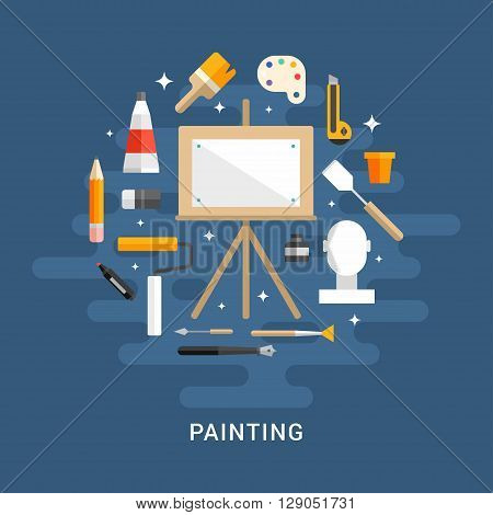 Painting Concept. Wooden Easel with a Blank Canvas. Flat Style Vector Illustration. Profession Concept Painter
