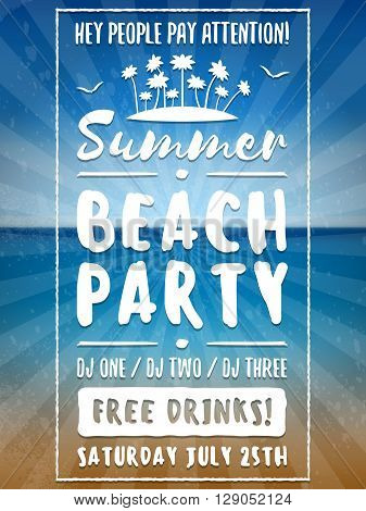 Beach Party Flyer Or Poster. Night Club Event