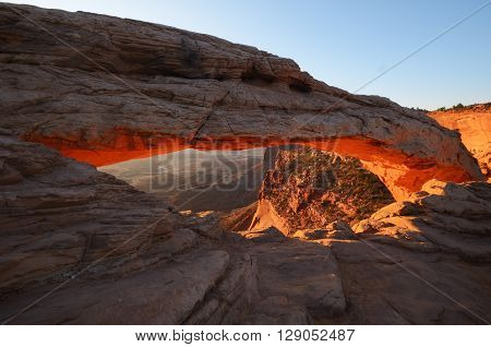 Mesa Arch Glowing in Canyonlands National Park at Sunrise