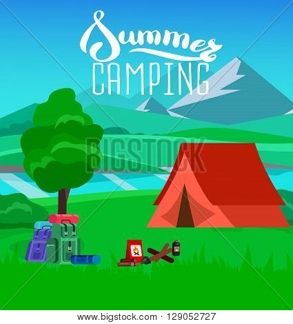 summer camping with landscape. Morning landscape in the mountains. Solitude in nature by the river. Camping Weekend in the tent. Hiking and camping. Vector camping flat illustration