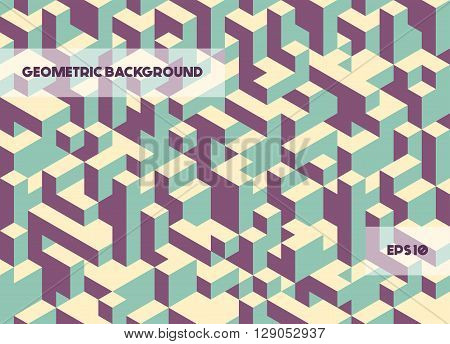 Vector abstract geometric background in retro colors