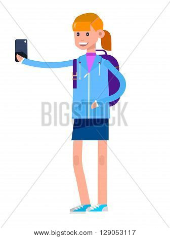 Vector detailed character girl. Kid smiling holding Gadgets and backpacks. Primary or elementary school child character. Vector child character isolated on white background