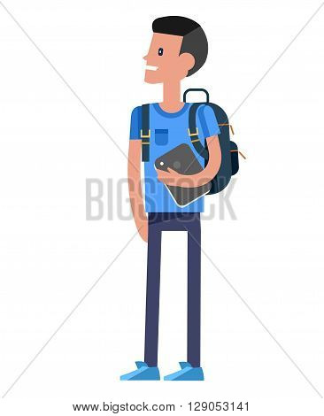Vector detailed character boy  smiling holding Gadgets and backpacks. Primary or elementary school child character. Vector child character isolated on white background