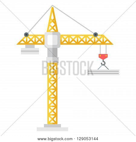 Yellow construction crane. Flat vector illustration isolated on white background