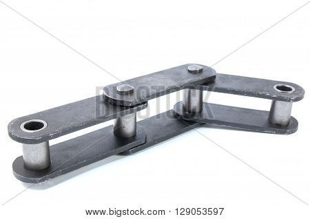 Pulling block conveyor chain isolated on white background