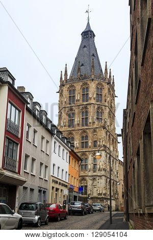 Cologne, Germany - May 16: This tower is a historic town hall of Cologne which is now held only wedding event May 16, 2013 in Cologne, Germany.