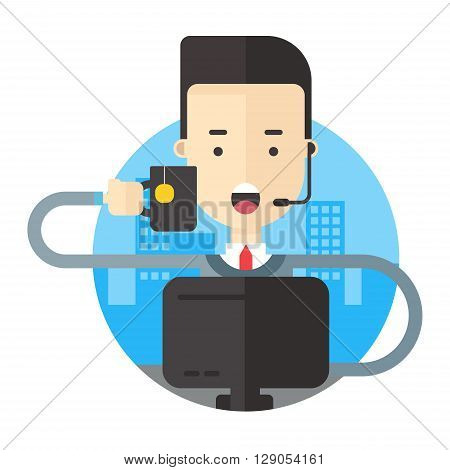 Man with headphones holding a mug of tea sitting in front of computer. Flat vector illustration