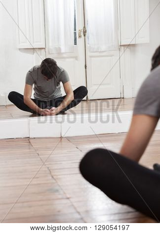 Ballet Trainer Performing In Front Of Mirror