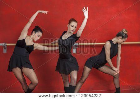 Female Ballet Dancers Performing At Barre